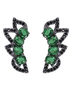 Ear cuff de metal grafite com pedra verde e strass preto Aniston