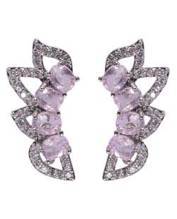 Ear cuff de metal prateado com pedra rosa e strass cristal Aniston