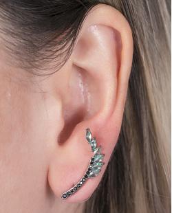 Ear cuff de metal grafite com pedra turquesa e strass preto Angelina