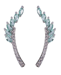 Ear cuff de metal prateado com pedra turquesa e strass cristal Angelina