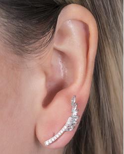 Ear cuff de metal prateado com pedra azul e strass cristal Angelina