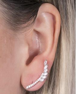 Ear cuff de metal prateado com pedra cristal Angelina