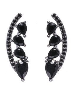 Ear cuff de metal grafite com pedra preta Cameron