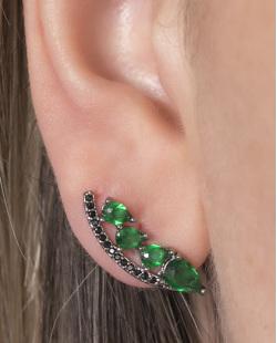 Ear cuff de metal grafite com pedra verde e strass preto Cameron