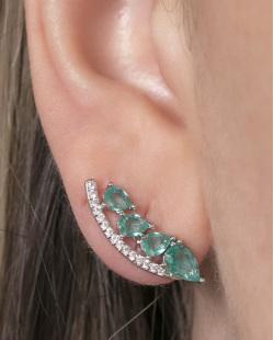 Ear cuff de metal prateado com pedra turquesa e strass cristal Cameron