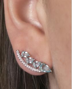 Ear cuff de metal prateado com pedra azul e strass cristal Cameron