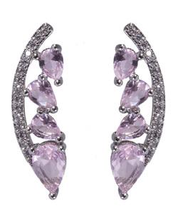 Ear cuff de metal prateado com pedra rosa e strass cristal Cameron