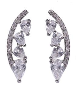 Ear cuff de metal prateado com pedra cristal Cameron