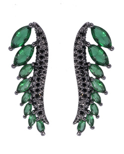 Ear cuff de metal grafite com pedra verde e strass preto Scarlett