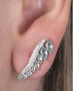 Ear cuff de metal prateado com pedra turquesa e strass cristal Scarlett