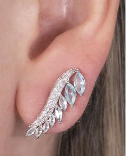 Ear cuff de metal prateado com pedra azul e strass cristal Scarlett
