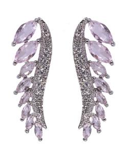 Ear cuff de metal prateado com pedra rosa e strass cristal Scarlett
