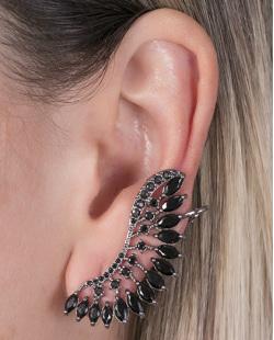 Ear cuff de metal grafite com pedra preta Natalie