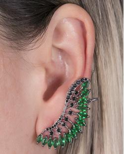 Ear cuff de metal grafite com pedra verde e strass preto Natalie