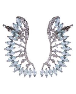 Ear cuff de metal prateado com pedra azul e strass cristal Natalie