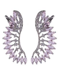 Ear cuff de metal prateado com pedra rosa e strass cristal Natalie