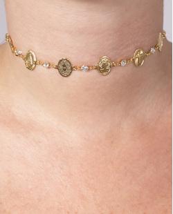 Gargantilha choker de metal dourado com pedra cristal  Liam