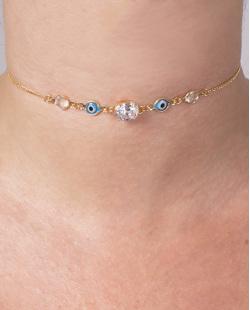 Gargantilha choker de metal dourado com pedra cristal e azul Affleck