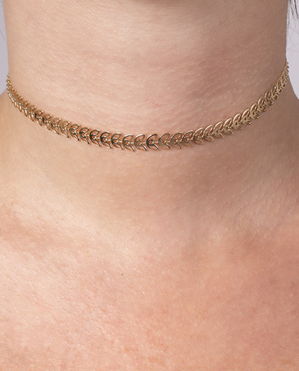 Gargantilha choker de metal dourado Penélope