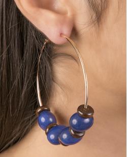 Brinco de argola de metal dourado com pedra azul Elza