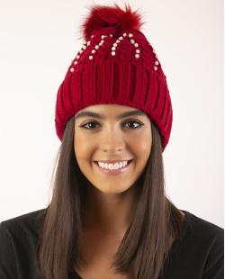 Gorro de tricô vermelho com pérolas Spears
