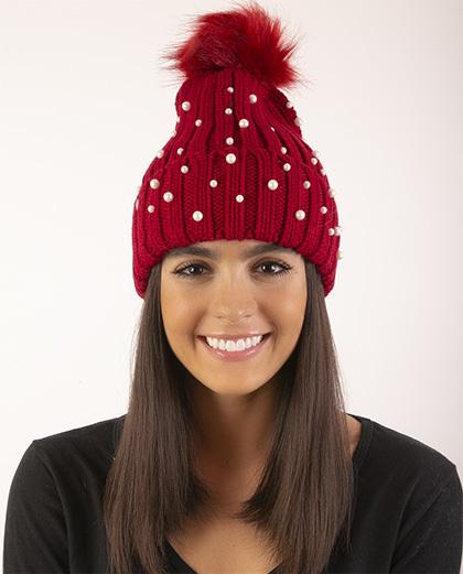 Gorro de tricô vermelho com pérolas Kesha