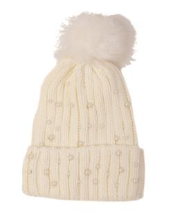 Gorro de tricô branco com pérolas Kesha