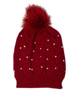 Gorro de tricô vermelho com pérolas Melim