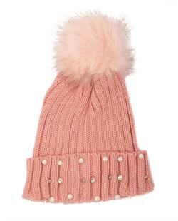 Gorro de tricô rosa com pérolas Nicki