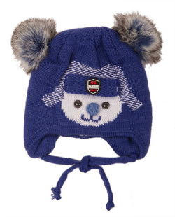 Gorro de tricô infantil azul escuro Bob