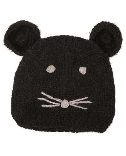 Gorro de tricô infantil preto kitten