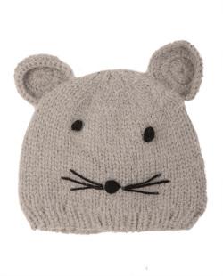 Gorro de tricô infantil cinza kitten