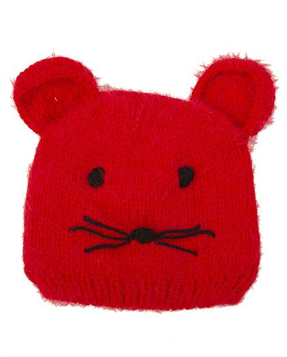 Gorro de tricô infantil vermelho kitten