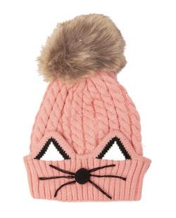 Gorro de tricô infantil rosa alvin