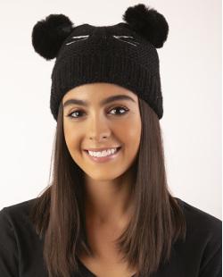 Gorro de tricô infantil preto Panda