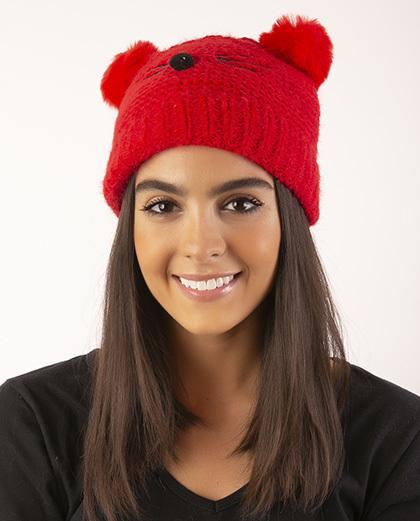 Gorro de tricô infantil vermelho Panda