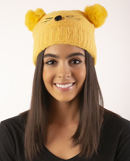 Gorro de tricô infantil amarelo Panda