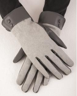 Luva de courino preto e algodão cinza Eliana