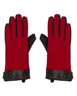 Luva de courino preto e algodão vermelho Eliana