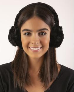 Protetor de orelhas de pelúcia preta leslie