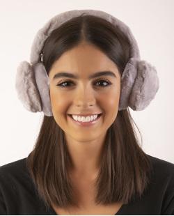 Protetor de orelhas de pelúcia cinza leslie