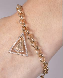 Pulseira de metal dourado com strass cristal Odete