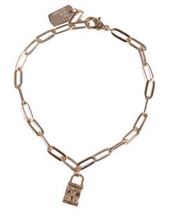 Pulseira de metal dourado padlock