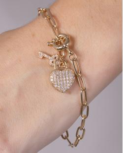 Pulseira de metal dourado com strass cristal heart
