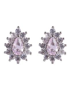 Brinco pequeno de metal prateado com pedra rosa e strass cristal Haven