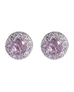 Brinco pequeno de metal prateado com pedra rosa e strass cristal Ciara