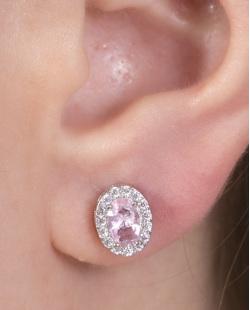 Brinco pequeno de metal prateado com pedra rosa e strass cristal Nahla