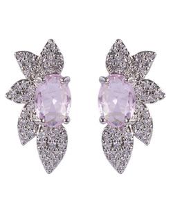 Brinco pequeno de metal prateado com pedra rosa e strass cristal Violet