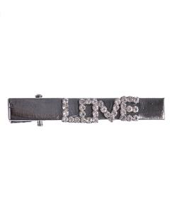 Presilha de metal grafite com strass cristal love