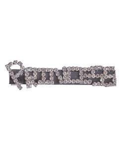 Presilha de metal grafite com strass cristal  princess